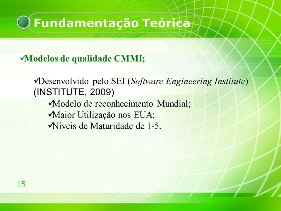 15 Fundamentação Teórica Modelos de qualidade CMMI; Desenvolvido pelo SEI (Software Engineering Institute) (INSTITUTE, 2009) Modelo de reconhecimento