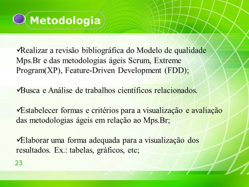 23 Metodologia Realizar a revisão bibliográfica do Modelo de qualidade Mps.Br e das metodologias ágeis Scrum, Extreme Program(XP), Feature-Driven Deve