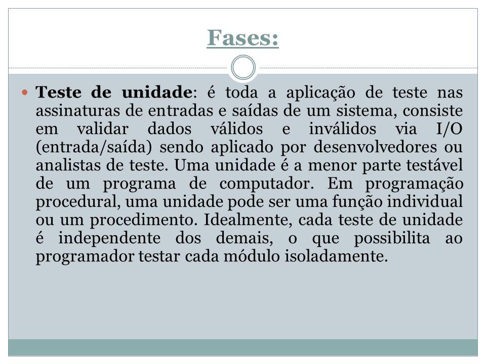 Fases: Teste de unidade: é toda a aplicação de teste nas assinaturas de entradas e saídas de um sistema, consiste em validar dados válidos e inválidos