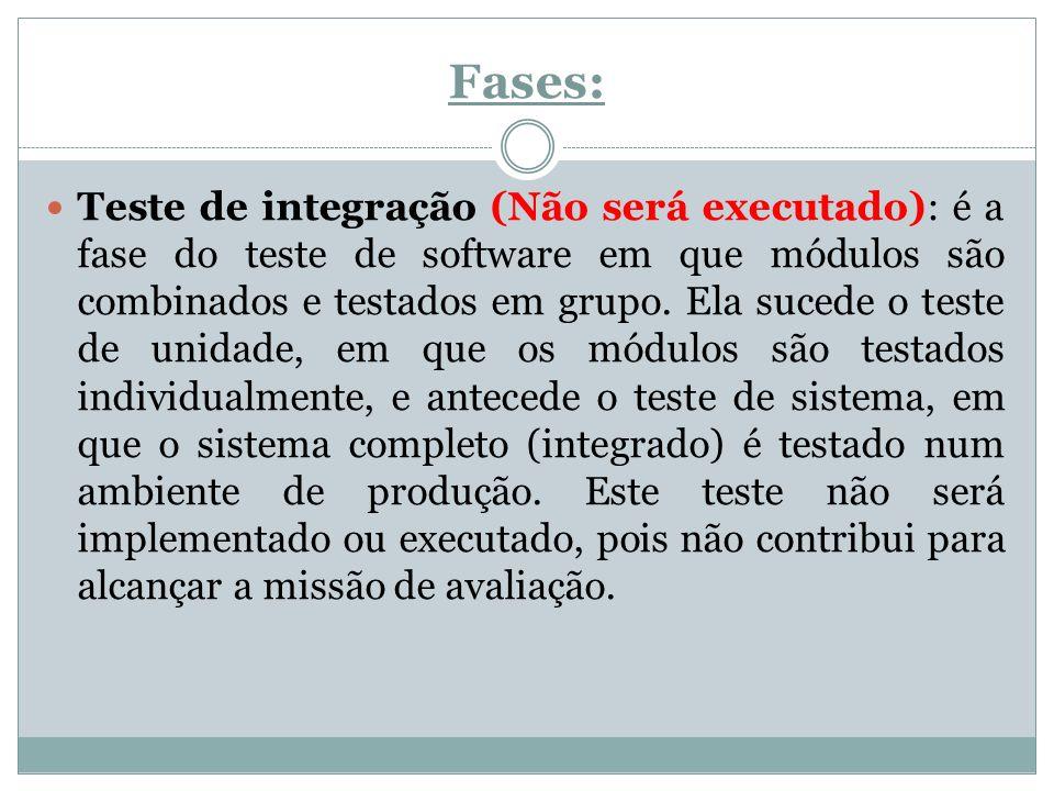 Fases: Teste de integração (Não será executado): é a fase do teste de software em que módulos são combinados e testados em grupo. Ela sucede o teste d