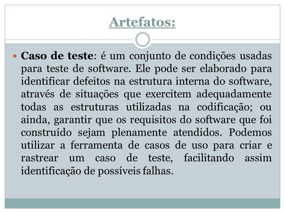 Artefatos: Caso de teste: é um conjunto de condições usadas para teste de software. Ele pode ser elaborado para identificar defeitos na estrutura inte
