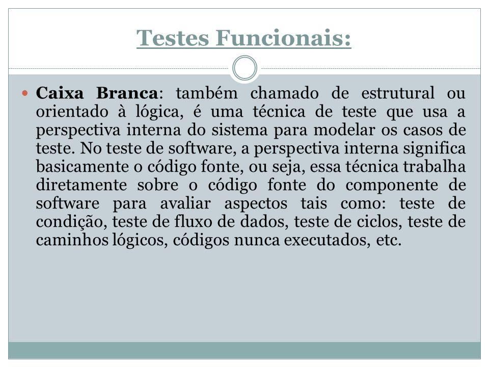 Testes Funcionais: Caixa Preta: é um teste de software para verificar a saída dos dados usando entradas de vários tipos.