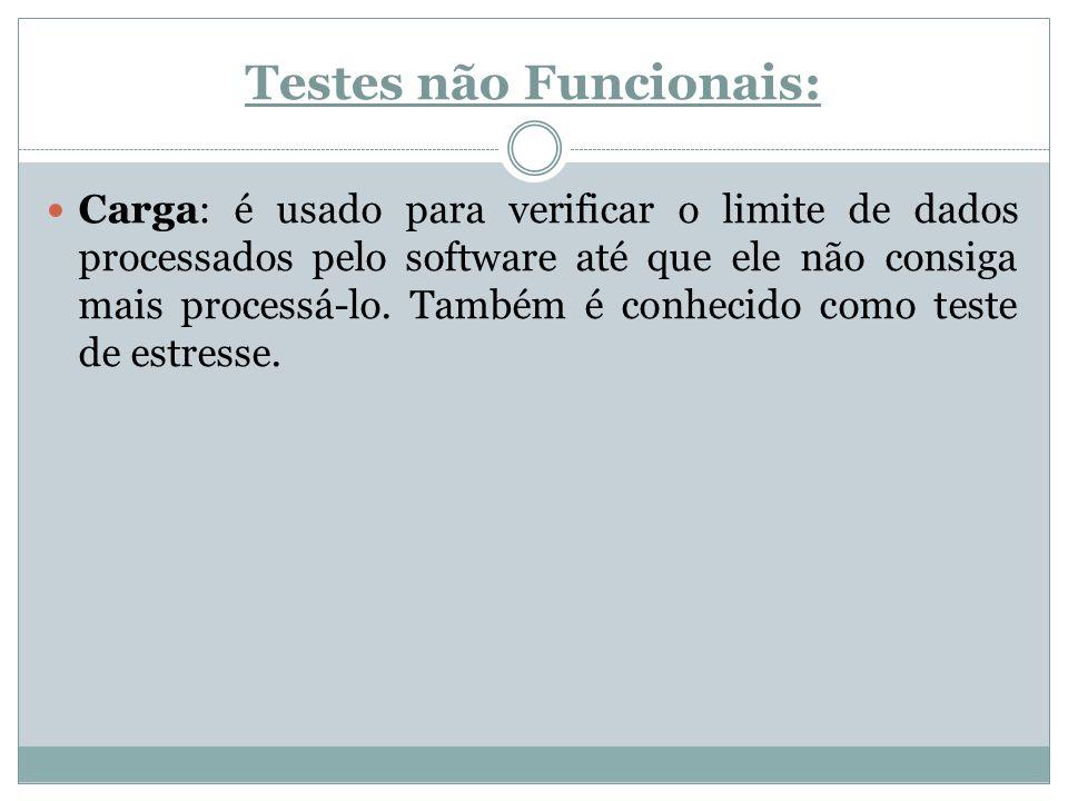 Testes não Funcionais: Carga: é usado para verificar o limite de dados processados pelo software até que ele não consiga mais processá-lo. Também é co
