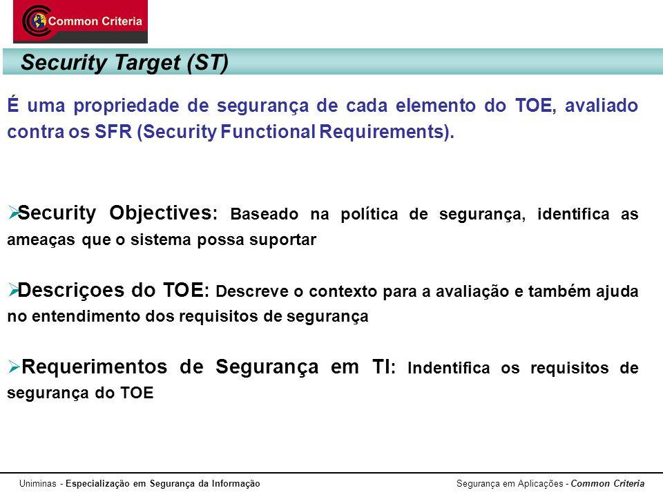 Uniminas - Especialização em Segurança da Informação Segurança em Aplicações - Common Criteria É uma propriedade de segurança de cada elemento do TOE,