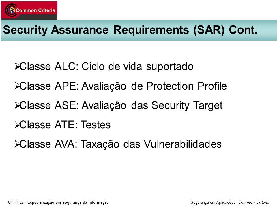 Uniminas - Especialização em Segurança da Informação Segurança em Aplicações - Common Criteria Security Assurance Requirements (SAR) Cont. Classe ALC: