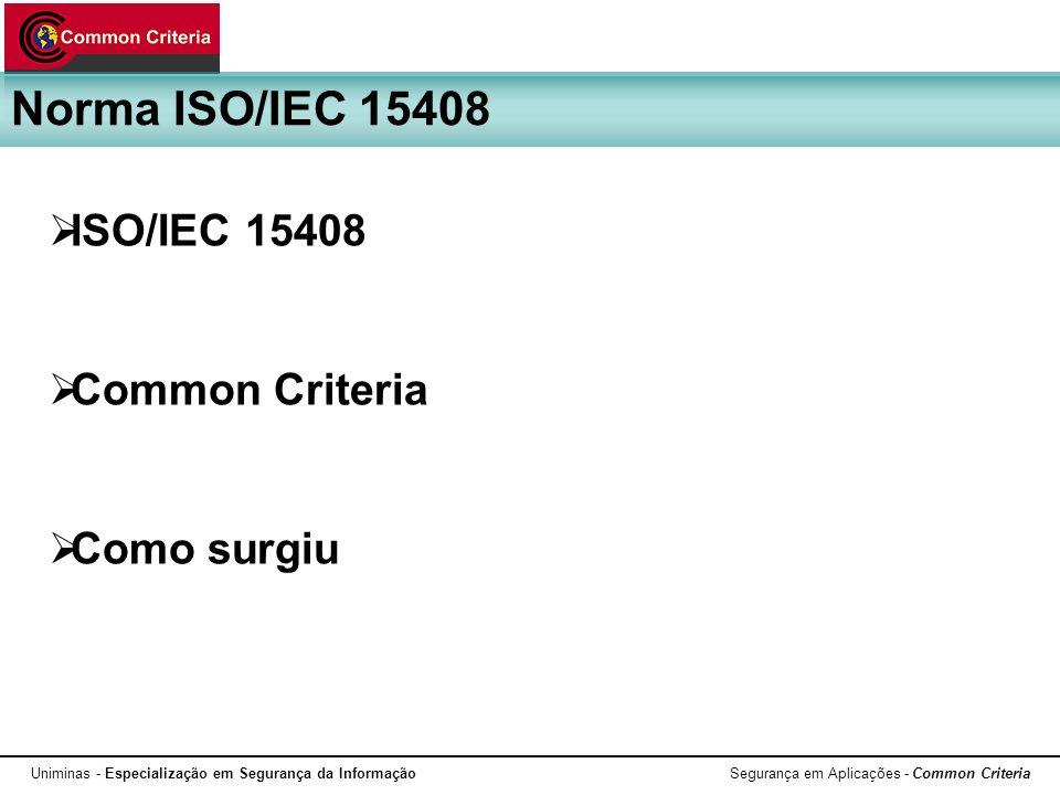 Uniminas - Especialização em Segurança da Informação Segurança em Aplicações - Common Criteria Três níveis: Definições e metodologia Requisitos de segurança Metodologias de avaliação Norma ISO/IEC 15408