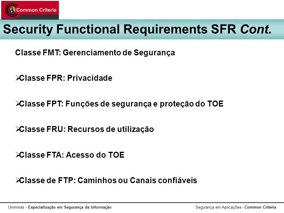 Uniminas - Especialização em Segurança da Informação Segurança em Aplicações - Common Criteria Security Functional Requirements SFR Cont. Classe FMT: