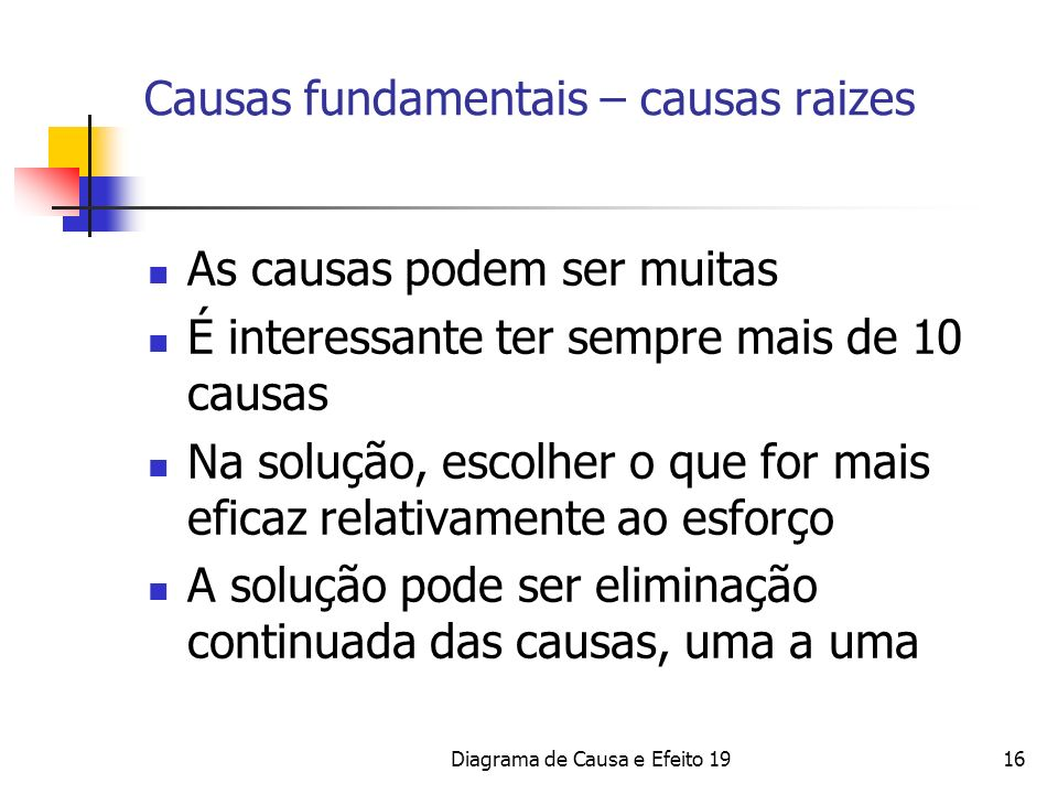 Diagrama de Causa e Efeito 1916 Causas fundamentais – causas raizes As causas podem ser muitas É interessante ter sempre mais de 10 causas Na solução,