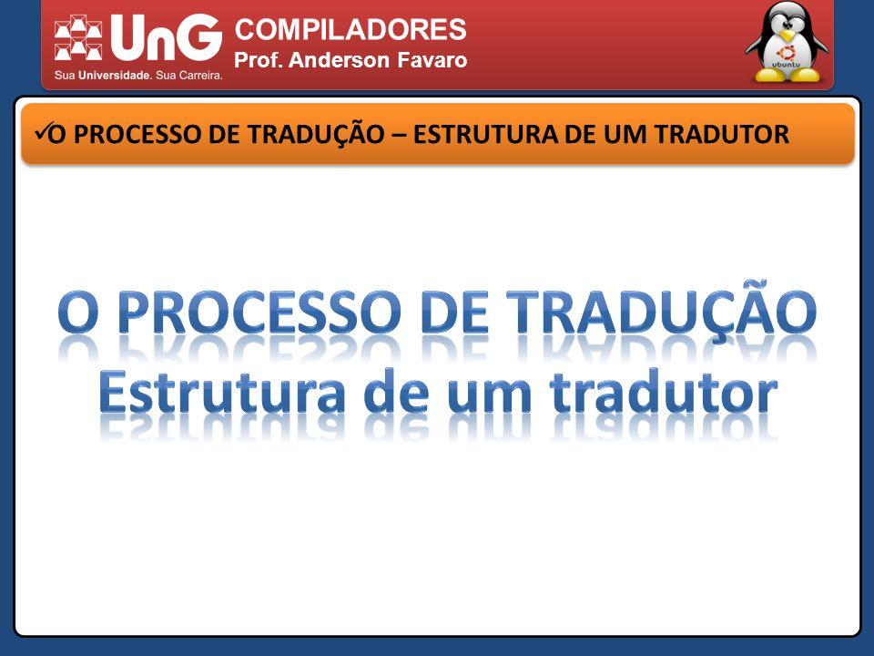 COMPILADORES Prof. Anderson Favaro O PROCESSO DE TRADUÇÃO – ESTRUTURA DE UM TRADUTOR