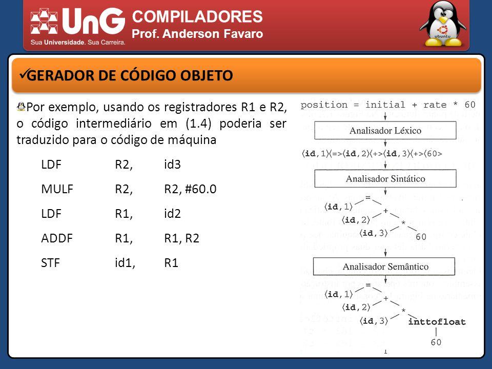 COMPILADORES Prof. Anderson Favaro GERADOR DE CÓDIGO OBJETO Por exemplo, usando os registradores R1 e R2, o código intermediário em (1.4) poderia ser