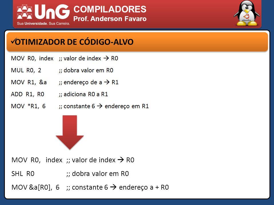 COMPILADORES Prof. Anderson Favaro OTIMIZADOR DE CÓDIGO-ALVO MOV R0, index ;; valor de index R0 SHL R0;; dobra valor em R0 MOV &a[R0], 6;; constante 6