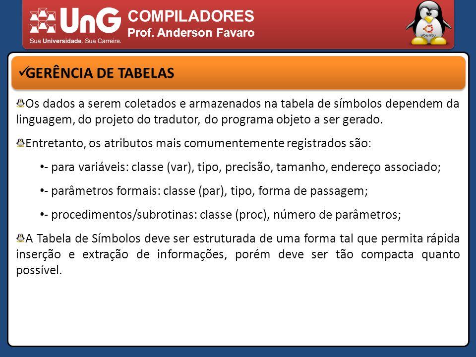 COMPILADORES Prof. Anderson Favaro GERÊNCIA DE TABELAS Os dados a serem coletados e armazenados na tabela de símbolos dependem da linguagem, do projet