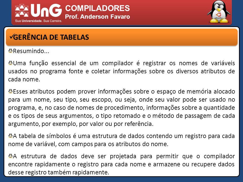 COMPILADORES Prof. Anderson Favaro GERÊNCIA DE TABELAS Resumindo... Uma função essencial de um compilador é registrar os nomes de variáveis usados no