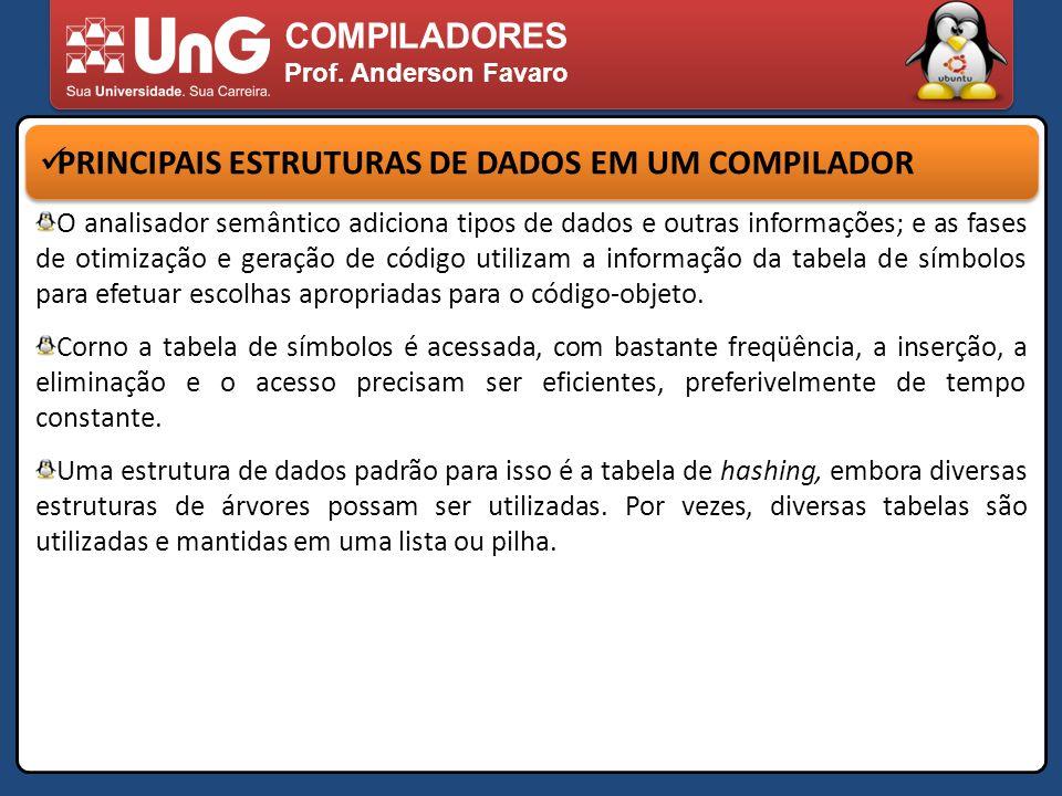 COMPILADORES Prof. Anderson Favaro PRINCIPAIS ESTRUTURAS DE DADOS EM UM COMPILADOR O analisador semântico adiciona tipos de dados e outras informações