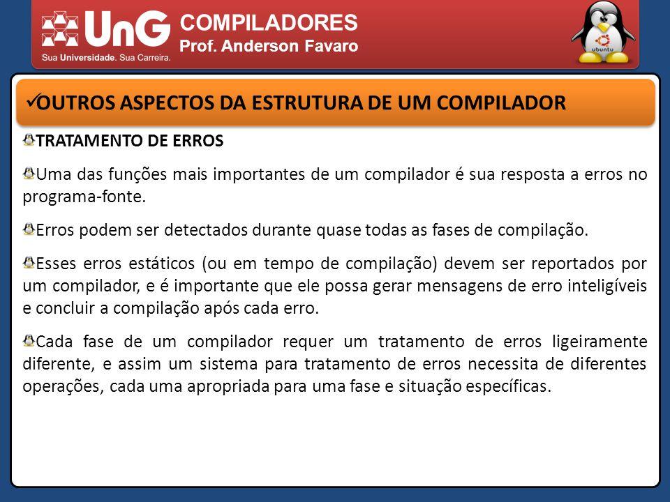 COMPILADORES Prof. Anderson Favaro OUTROS ASPECTOS DA ESTRUTURA DE UM COMPILADOR TRATAMENTO DE ERROS Uma das funções mais importantes de um compilador