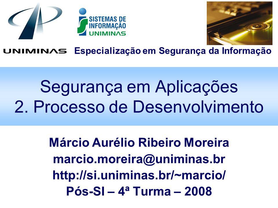 Especialização em Segurança da Informação Segurança em Aplicações 2. Processo de Desenvolvimento Márcio Aurélio Ribeiro Moreira marcio.moreira@unimina