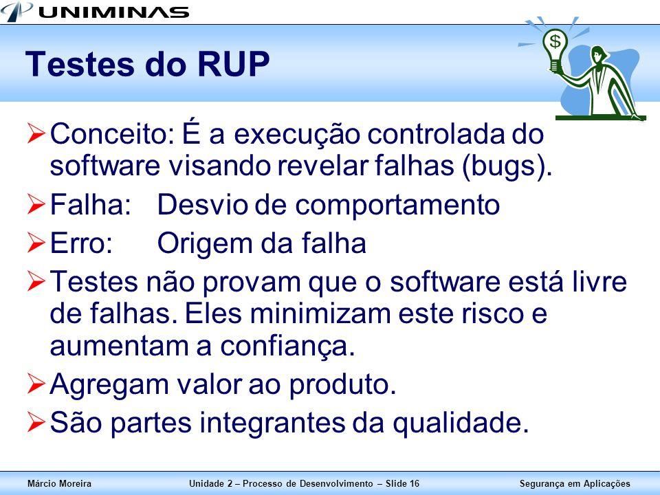 Segurança em AplicaçõesMárcio MoreiraUnidade 2 – Processo de Desenvolvimento – Slide 16 Testes do RUP Conceito: É a execução controlada do software vi