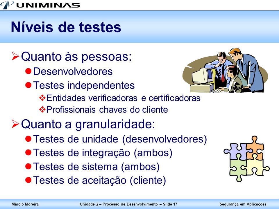 Segurança em AplicaçõesMárcio MoreiraUnidade 2 – Processo de Desenvolvimento – Slide 17 Níveis de testes Quanto às pessoas: Desenvolvedores Testes ind