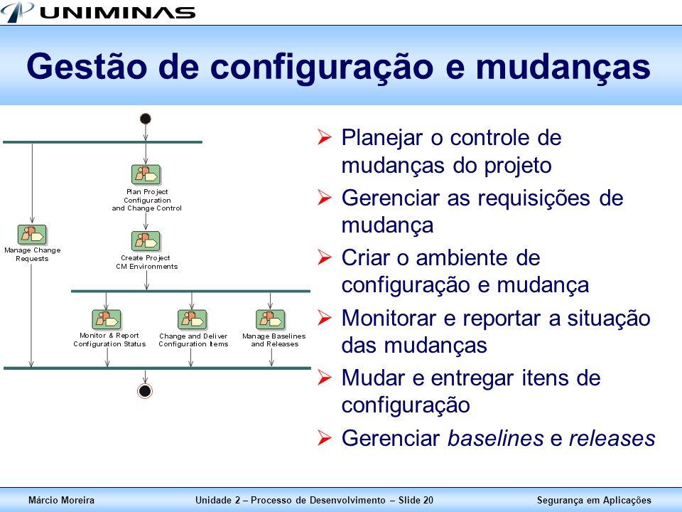 Segurança em AplicaçõesMárcio MoreiraUnidade 2 – Processo de Desenvolvimento – Slide 20 Gestão de configuração e mudanças Planejar o controle de mudan