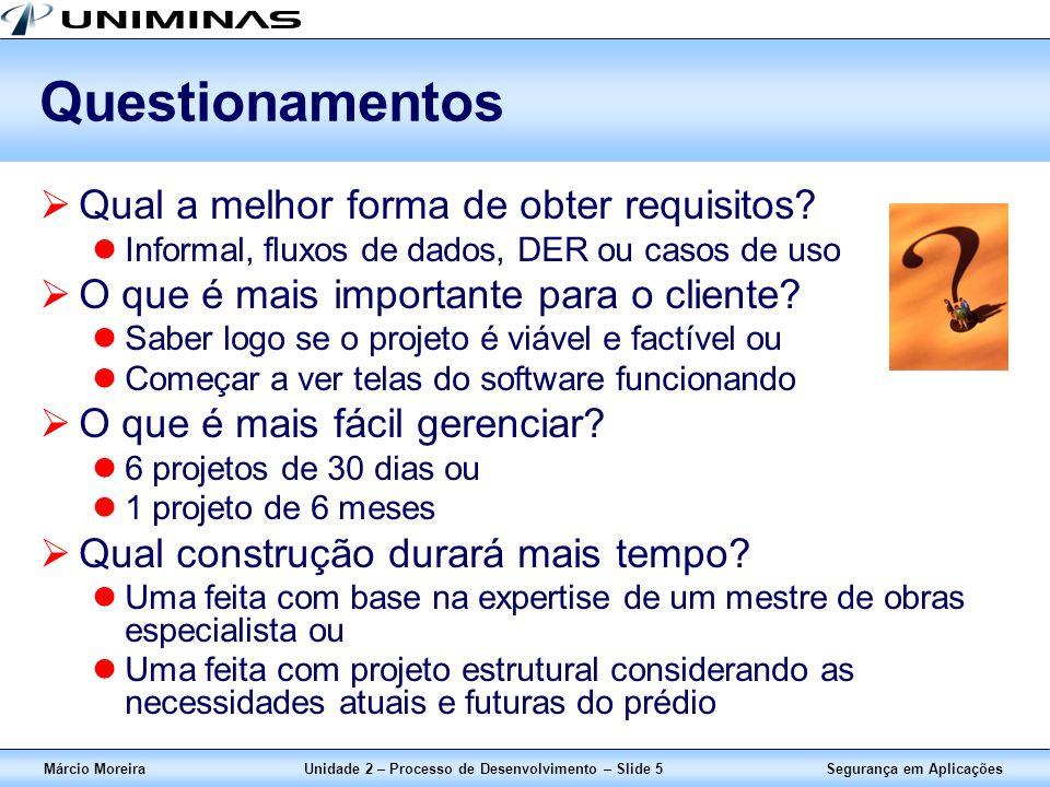 Segurança em AplicaçõesMárcio MoreiraUnidade 2 – Processo de Desenvolvimento – Slide 5 Questionamentos Qual a melhor forma de obter requisitos? Inform