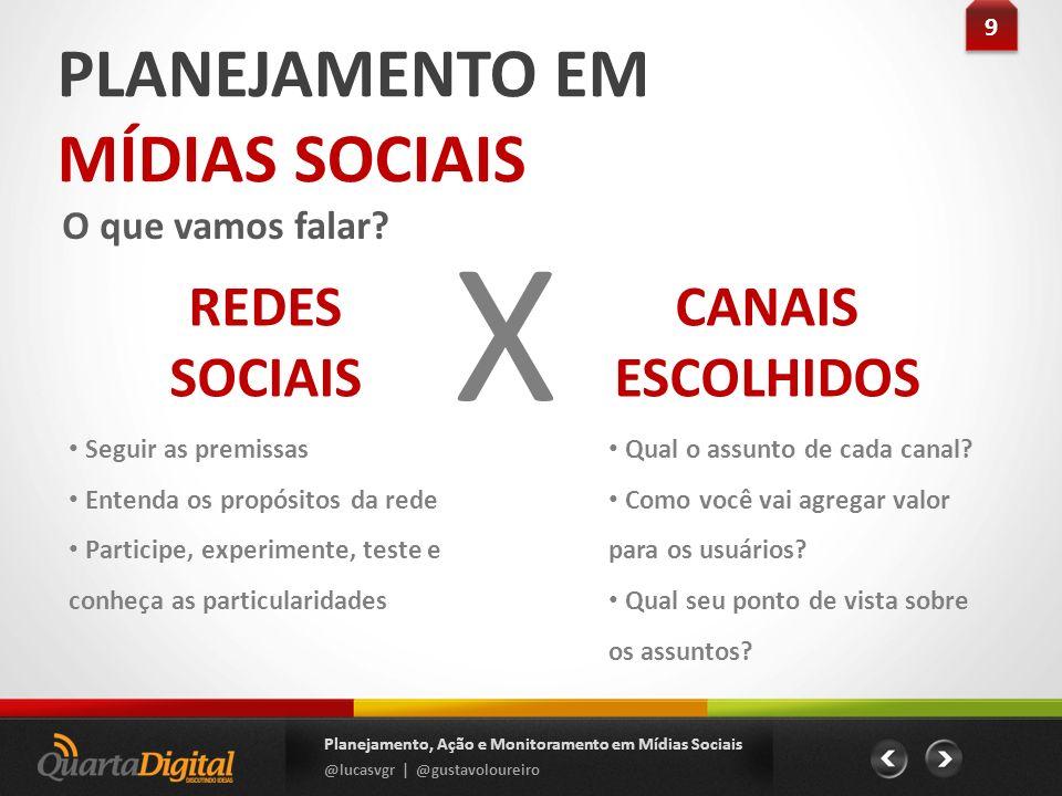 PLANEJAMENTO EM MÍDIAS SOCIAIS O que vamos falar? 9 9 Planejamento, Ação e Monitoramento em Mídias Sociais @lucasvgr | @gustavoloureiro REDES SOCIAIS