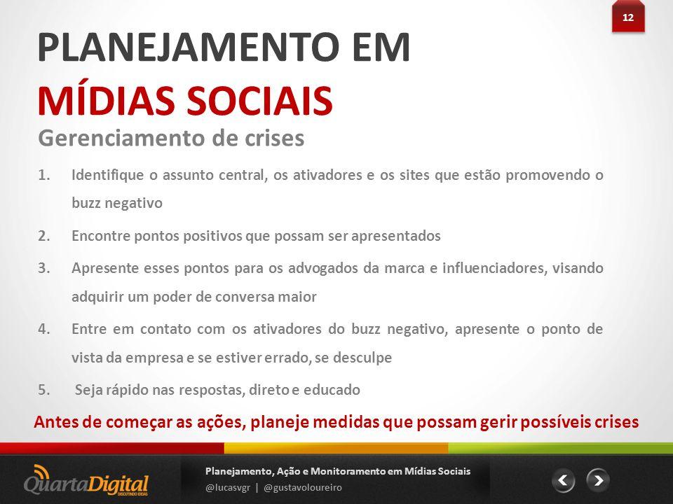 PLANEJAMENTO EM MÍDIAS SOCIAIS 12 Planejamento, Ação e Monitoramento em Mídias Sociais @lucasvgr | @gustavoloureiro Gerenciamento de crises 1.Identifi