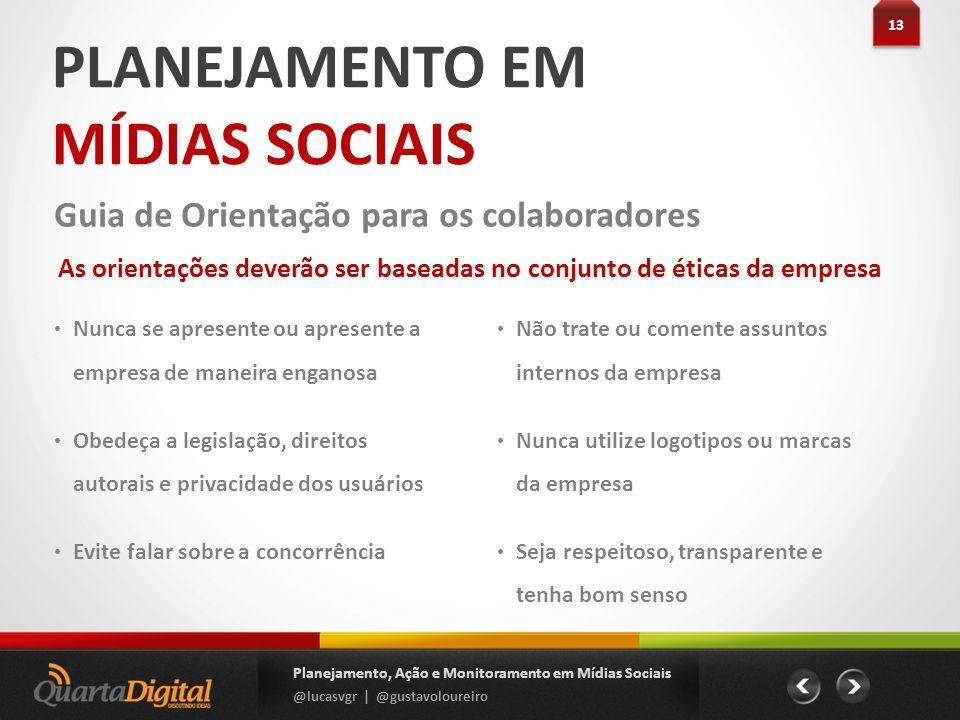 PLANEJAMENTO EM MÍDIAS SOCIAIS 13 Planejamento, Ação e Monitoramento em Mídias Sociais @lucasvgr | @gustavoloureiro Guia de Orientação para os colabor