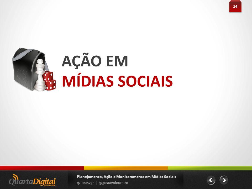 AÇÃO EM MÍDIAS SOCIAIS 14 Planejamento, Ação e Monitoramento em Mídias Sociais @lucasvgr | @gustavoloureiro