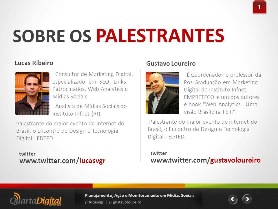 SOBRE OS PALESTRANTES Lucas Ribeiro Planejamento, Ação e Monitoramento em Mídias Sociais @lucasvgr | @gustavoloureiro 1 1 Consultor de Marketing Digit