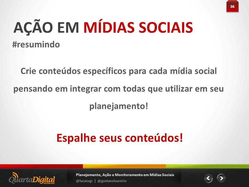 AÇÃO EM MÍDIAS SOCIAIS #resumindo 36 Planejamento, Ação e Monitoramento em Mídias Sociais @lucasvgr | @gustavoloureiro Crie conteúdos específicos para