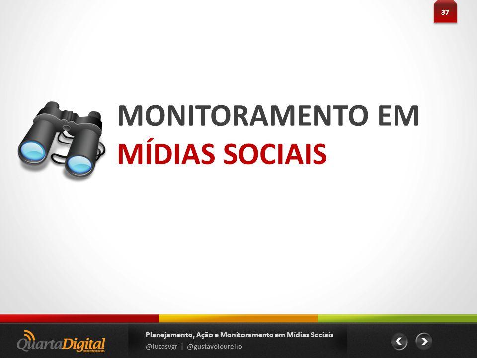 MONITORAMENTO EM MÍDIAS SOCIAIS 37 Planejamento, Ação e Monitoramento em Mídias Sociais @lucasvgr | @gustavoloureiro