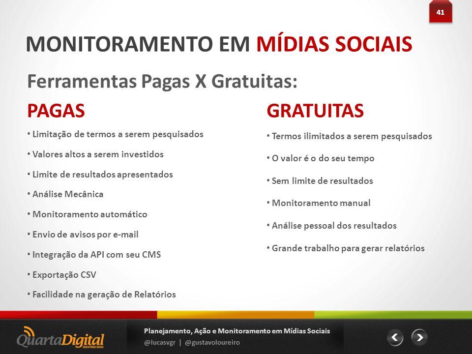 MONITORAMENTO EM MÍDIAS SOCIAIS Ferramentas Pagas X Gratuitas: 41 Planejamento, Ação e Monitoramento em Mídias Sociais @lucasvgr | @gustavoloureiro PA