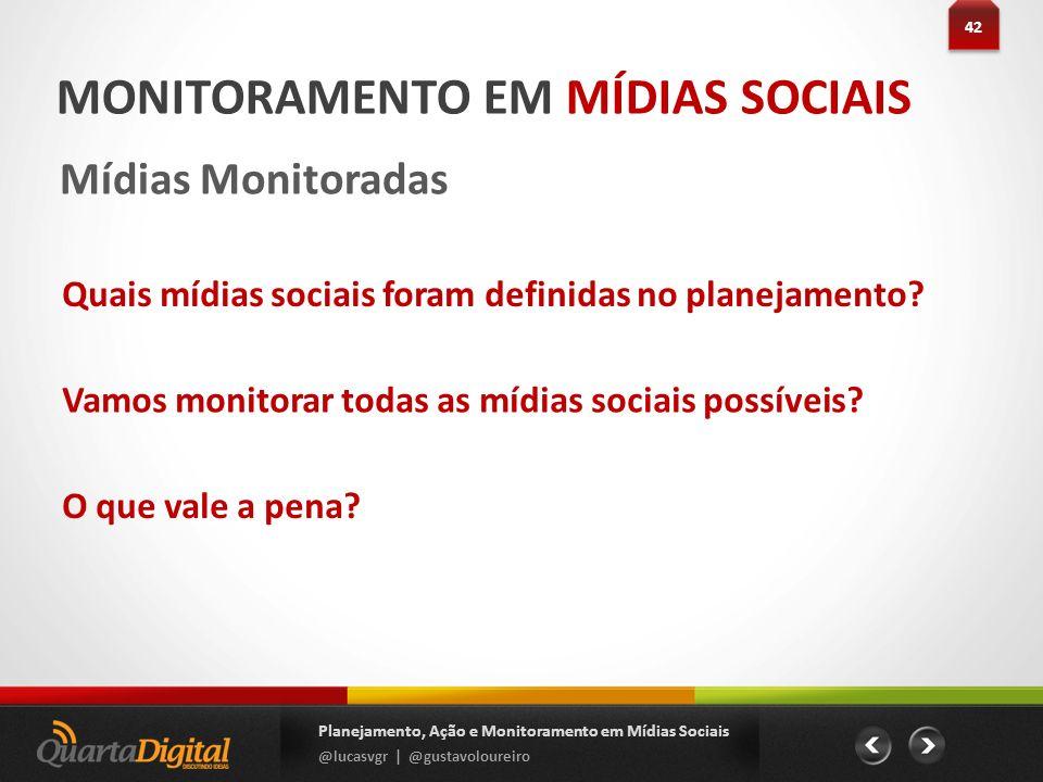 MONITORAMENTO EM MÍDIAS SOCIAIS Mídias Monitoradas 42 Planejamento, Ação e Monitoramento em Mídias Sociais @lucasvgr | @gustavoloureiro Quais mídias s
