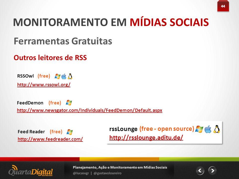 44 Planejamento, Ação e Monitoramento em Mídias Sociais @lucasvgr | @gustavoloureiro MONITORAMENTO EM MÍDIAS SOCIAIS Ferramentas Gratuitas Outros leit