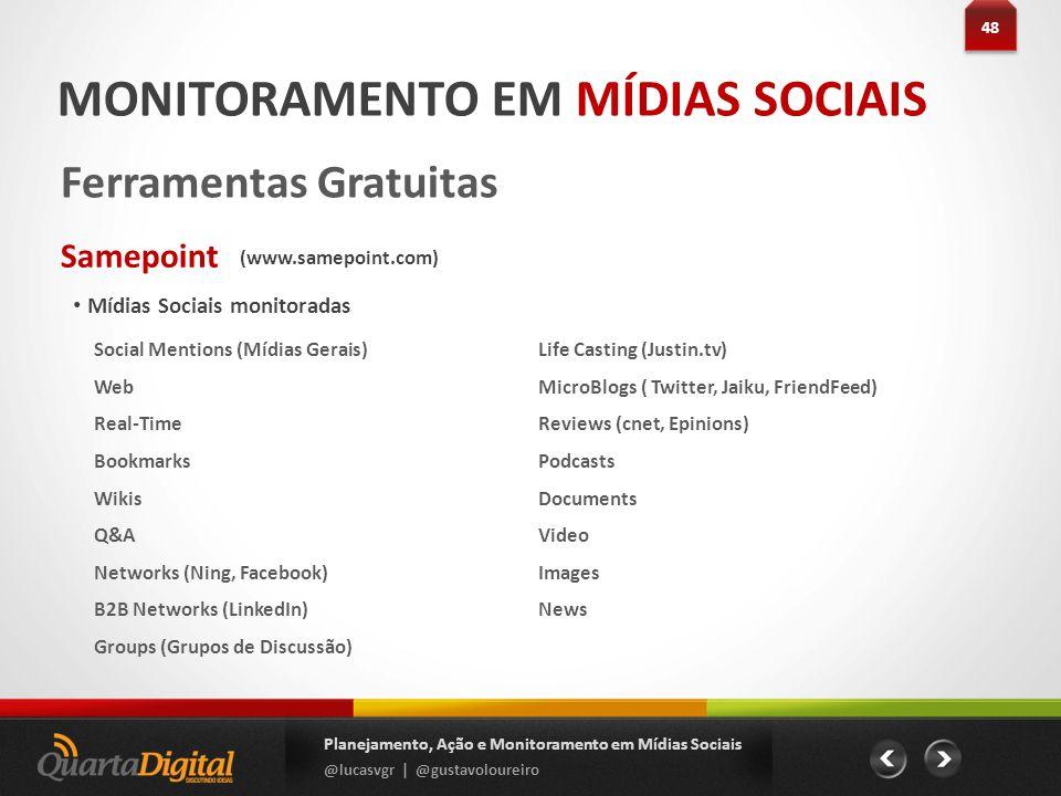 Mídias Sociais monitoradas 48 Planejamento, Ação e Monitoramento em Mídias Sociais @lucasvgr | @gustavoloureiro MONITORAMENTO EM MÍDIAS SOCIAIS Ferram