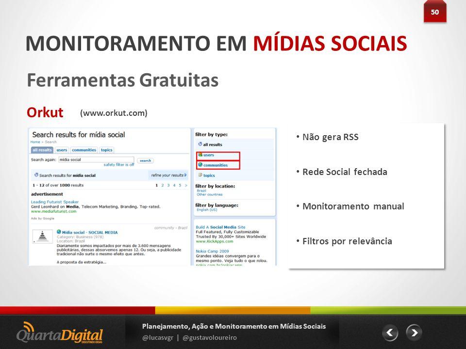 Não gera RSS Rede Social fechada Monitoramento manual Filtros por relevância 50 Planejamento, Ação e Monitoramento em Mídias Sociais @lucasvgr | @gust
