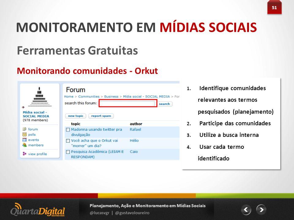 51 Planejamento, Ação e Monitoramento em Mídias Sociais @lucasvgr | @gustavoloureiro MONITORAMENTO EM MÍDIAS SOCIAIS Ferramentas Gratuitas Monitorando