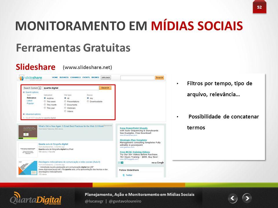 52 Planejamento, Ação e Monitoramento em Mídias Sociais @lucasvgr | @gustavoloureiro MONITORAMENTO EM MÍDIAS SOCIAIS Ferramentas Gratuitas Slideshare