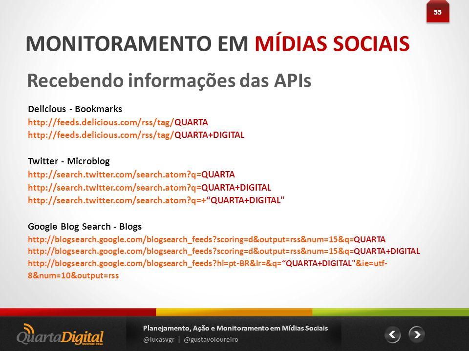 55 Planejamento, Ação e Monitoramento em Mídias Sociais @lucasvgr | @gustavoloureiro MONITORAMENTO EM MÍDIAS SOCIAIS Recebendo informações das APIs De
