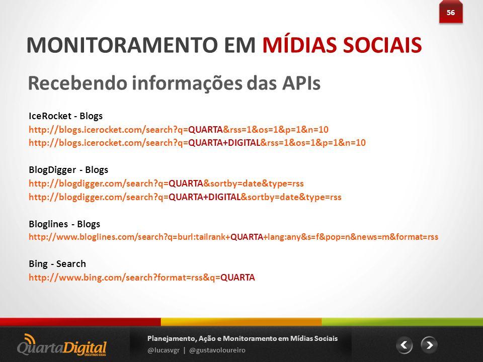 56 Planejamento, Ação e Monitoramento em Mídias Sociais @lucasvgr | @gustavoloureiro MONITORAMENTO EM MÍDIAS SOCIAIS Recebendo informações das APIs Ic