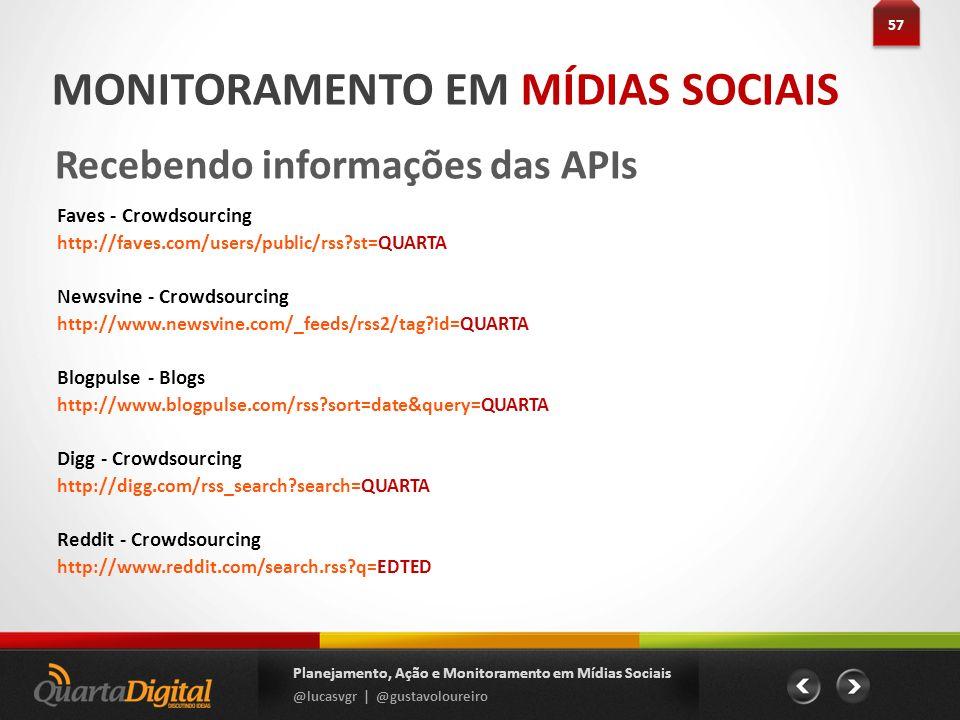57 Planejamento, Ação e Monitoramento em Mídias Sociais @lucasvgr | @gustavoloureiro MONITORAMENTO EM MÍDIAS SOCIAIS Recebendo informações das APIs Fa
