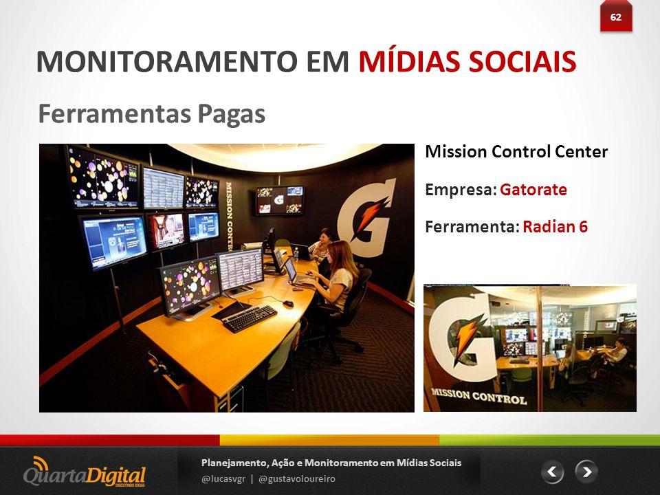 62 Planejamento, Ação e Monitoramento em Mídias Sociais @lucasvgr | @gustavoloureiro MONITORAMENTO EM MÍDIAS SOCIAIS Ferramentas Pagas Mission Control