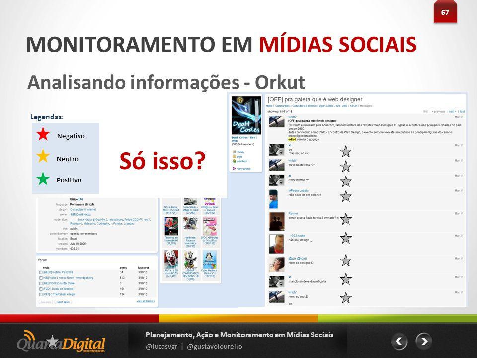 67 Planejamento, Ação e Monitoramento em Mídias Sociais @lucasvgr | @gustavoloureiro MONITORAMENTO EM MÍDIAS SOCIAIS Analisando informações - Orkut Ne