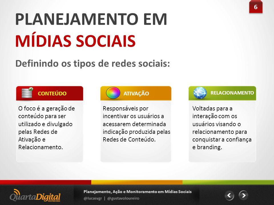 PLANEJAMENTO EM MÍDIAS SOCIAIS Definindo os tipos de redes sociais: O foco é a geração de conteúdo para ser utilizado e divulgado pelas Redes de Ativa