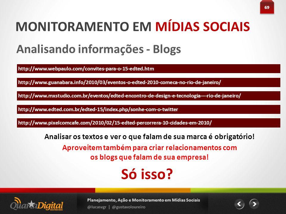 69 Planejamento, Ação e Monitoramento em Mídias Sociais @lucasvgr | @gustavoloureiro MONITORAMENTO EM MÍDIAS SOCIAIS Analisando informações - Blogs Só
