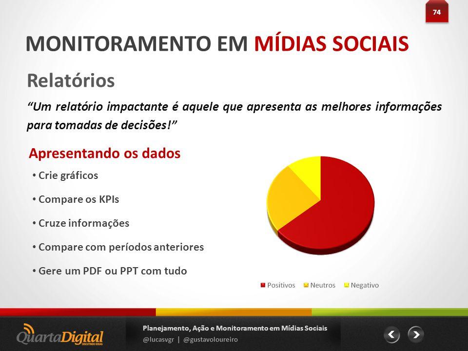 Apresentando os dados Crie gráficos Compare os KPIs Cruze informações Compare com períodos anteriores Gere um PDF ou PPT com tudo 74 Planejamento, Açã