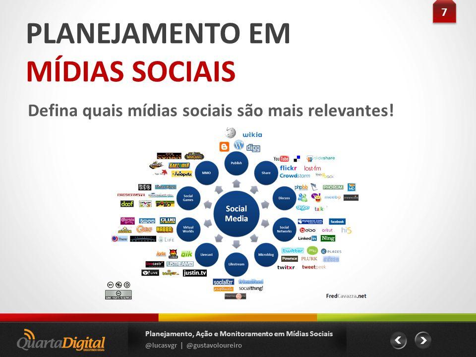 PLANEJAMENTO EM MÍDIAS SOCIAIS Defina quais mídias sociais são mais relevantes! 7 7 Planejamento, Ação e Monitoramento em Mídias Sociais @lucasvgr | @
