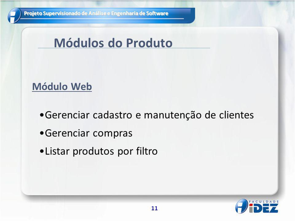 Projeto Supervisionado de Análise e Engenharia de Software 11 Módulos do Produto Gerenciar cadastro e manutenção de clientes Gerenciar compras Listar produtos por filtro Módulo Web