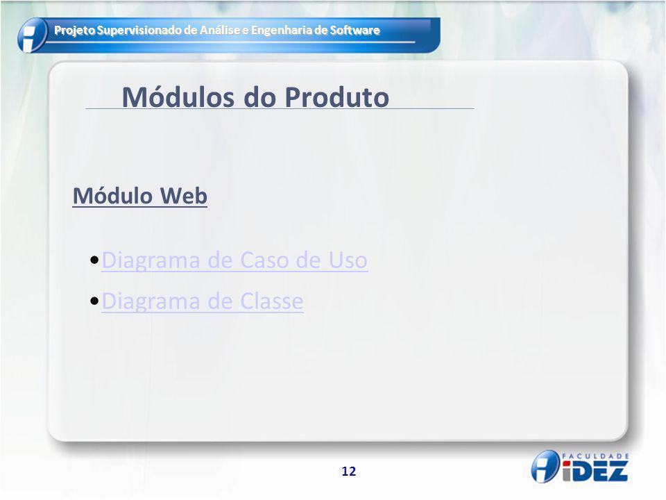 Projeto Supervisionado de Análise e Engenharia de Software 12 Módulos do Produto Diagrama de Caso de Uso Diagrama de Classe Módulo Web