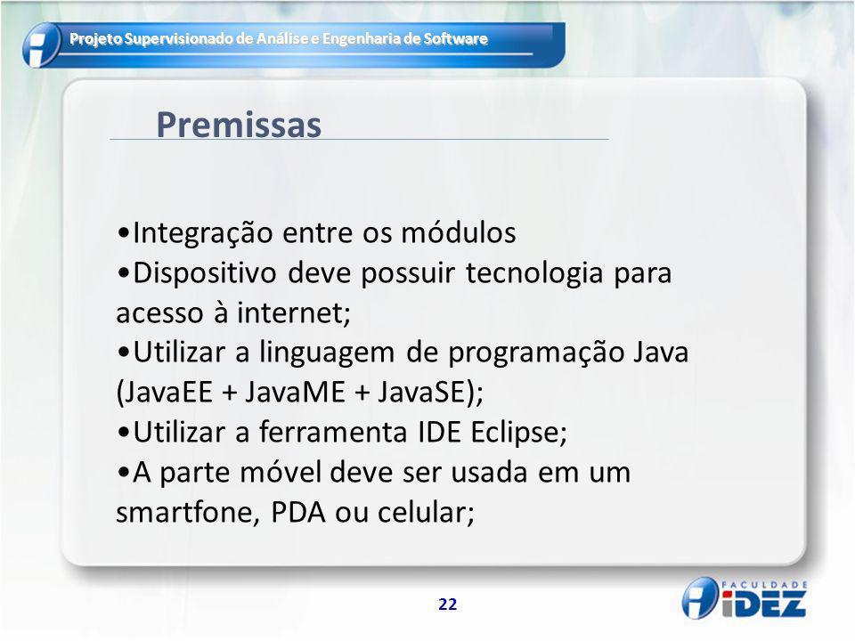 Projeto Supervisionado de Análise e Engenharia de Software 22 Premissas Integração entre os módulos Dispositivo deve possuir tecnologia para acesso à
